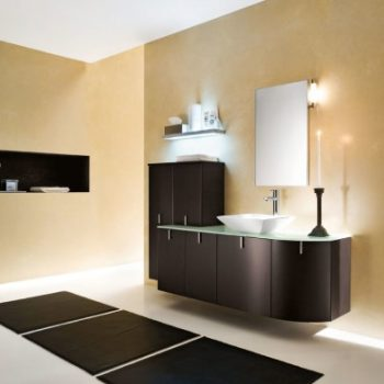 cream-accents-wall-paint-for-minimalist-bathroom-themed-feat-trendy-black-wood-vanity-units-using-bowl-sink-and-frameless-mirror-plus-charming-lighting-591x392